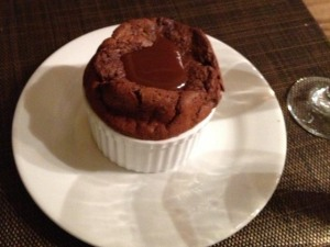Chocolate Souffle with Caramel