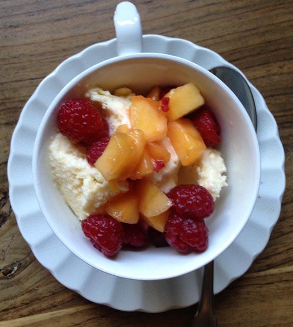 Corn Ice Cream with Peaches and Raspberries